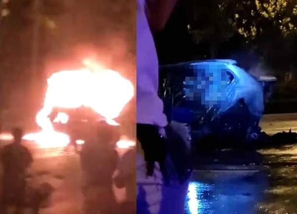 """23岁富家女开玛莎拉蒂酒驾!BMW等红灯被撞""""整车燃烧剩黑架"""""""